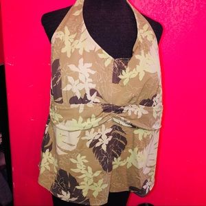 Mossimo Green Leaves Swimsuit Top